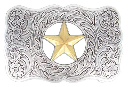 Antique Sterling Silver Finish Gold Ranger Star Belt Buckle