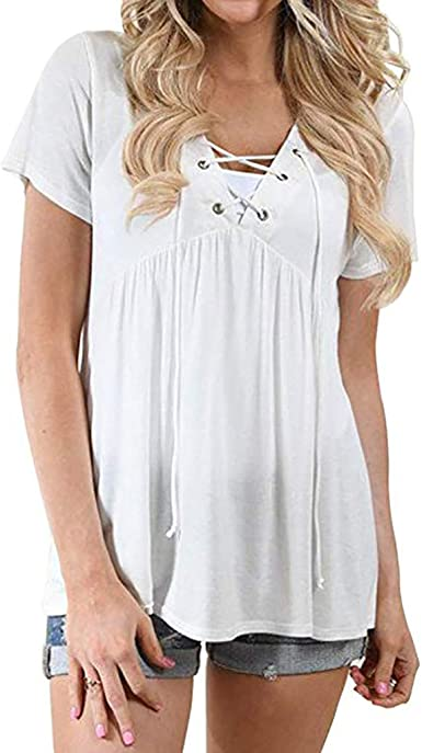 FELZ Camiseta Mujer Manga Corta Blusa de Mujer Color Liso Sexy Camisa Holgada de Playa con Dobladillo Rizado Casual T-Shirt Original tee: Amazon.es: Ropa y accesorios