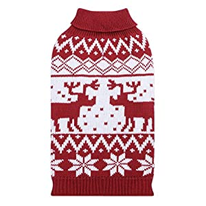 Dog Sweater, PETBABA Reindeer Snowflake Pattern Turtleneck Cable Knit Stretch Pullover Soft Jumper to Keep Warm in Winter Snow Cold Weather Good for Christmas Xmas Festival Holiday - L in Red