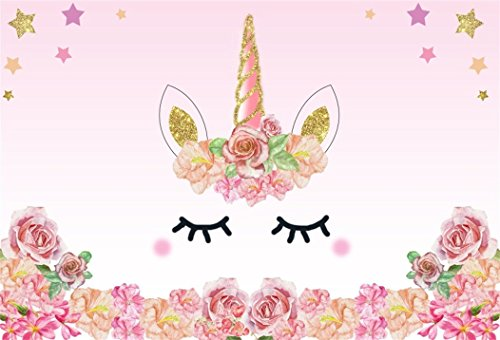 (Baocicco Unicorn Backdrop Happy Birthday Backdrop 10x8ft Vinyl Photography Background Pink Flowers Cute Face Stars Unicorn Horn Girls Princess Theme Party Baby Shower Portraits Photo Studio)