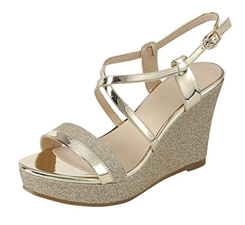 Cambridge Select Women's Open Toe Crisscross Ankle Strappy Mixed Media Glitter Platform Wedge Sandal (8.5 B(M) US, Gold)