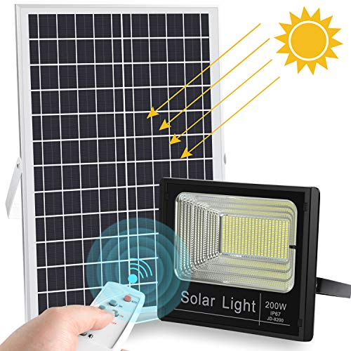 (2019 Upgraded 200W LED Solar Flood Light 400LED Dusk to Dawn Solar Powered Street Light Outdoor Waterproof IP67 with Remote Control Security Lighting for Yard|Garden|Swimming Pool|Pathway|Basketball )