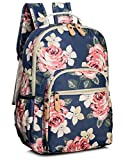 Leaper Floral School Backpack for Girls Travel Bag Bookbag Satchel Dark Blue