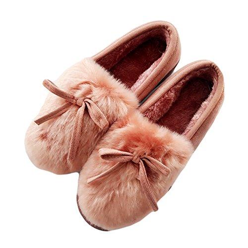 Cybling Winter Warm Indoor Outdoor Zachte Antislip Slippers Voor Vrouwen Loafer Schoenen Roze
