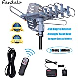 Will Brands 150+Miles Range Outdoor Amplified Digital TV Antenna-4K/1080p High Reception 40FT Coaxial Cable-Motorized 360Degree Rotation Wireless Remote Control with Snap On Installation Support 2TVs