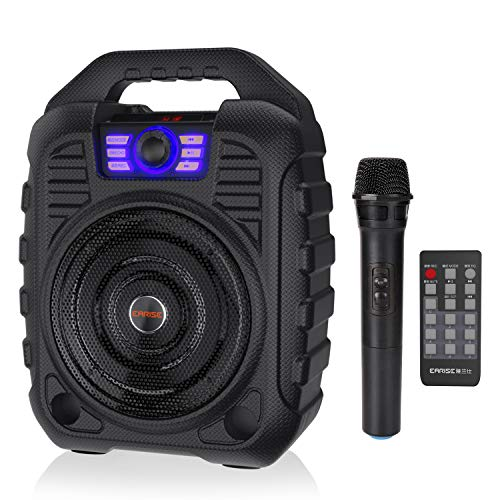 (EARISE T26 Portable PA System Bluetooth Speaker with Wireless Microphone, Rechargeable Karaoke Machine with FM Radio, Audio Recording, Remote Control, Supports TF Card and USB for Party, Camping)
