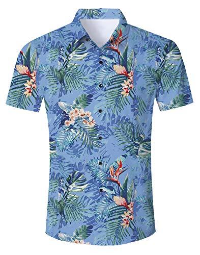 83725508b Uideazone Men Hawaiian Shirts Summer 3D Printed Short Sleeve Button Down Aloha  Shirt