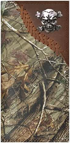 Custom Badger Skull and Crossbones Long Checkbook Realtree AP Camo Wallet