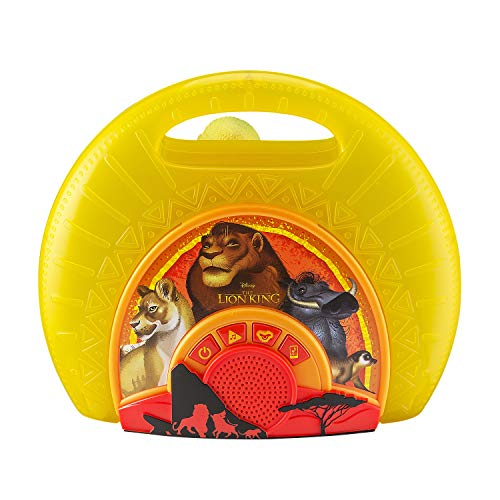 - Lion King Sing Along Boombox with Microphone Built in Music Flashing Lights Real Working Mic Connects to MP3 Player Storage Compartment in Back for Audio Device