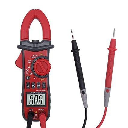 WULAU - Tensiómetro digital (amperímetro multímetro con tenaza, medidor de corriente CA/CC