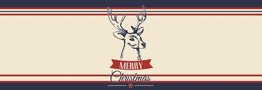 Merry Christmas Buck Hunting Antlers - Navy, Red and Cream, Red White and Blue Bed Runner Scarf Twin/Full/Queen/King Size by Unique Textile Printing