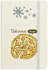 Sausage Mushroom Pizza Italy Foods Notebook Thick Journal Snowflakes Winter