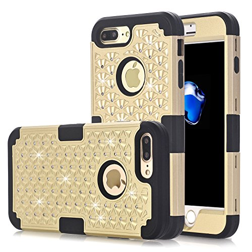 iPhone 7 Plus Case, KAMII [Diamond Series] 3 in 1 Hard PC+Silicone Hybrid Shockproof Shock Absorption / High Impact Full Body Protection Defender Case Cover for iPhone 7 Plus 5.5 inch (Golden+Black)