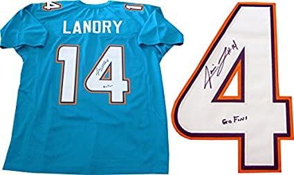 premium selection 71a8a d9926 Jarvis Landry Go Fins Autographed Miami Dolphins Away Jersey ...