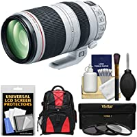 Canon EF 100-400mm f/4.5-5.6 L IS II USM Telephoto Zoom Lens with 3 Filters + Case Kit for EOS 6D, 70D, 7D 5D Mark II III, Rebel T3, T3i, T5, T5i, SL1 Cameras
