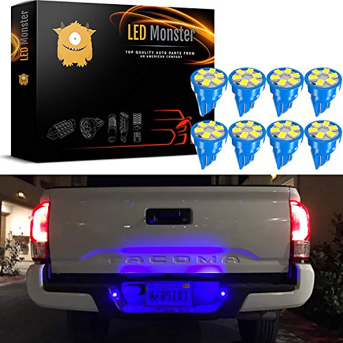 LED Monster 8x T10 194 Wedge Blue LED Lights Bulbs for License Plate Lamps License Frame Tag Number Plate ()