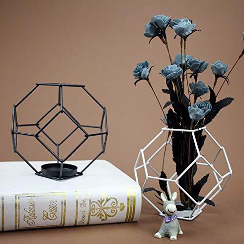Cupcinu Set de 2 Bougeoir Photophore de Fer Cand/élabres Noir m/étallique de Forme G/éom/étrique Porte pour Bougie Chauffe-Plat Lanterne pour Mariage