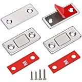 Cabinet Door Magnets Jiayi 2 Pack Ultra Thin Magnetic Door Catch Stainless Steel Drawer Magnet Catch for Sliding Door Closure Kitchen Cabinet Closer Cupboard Closet Door Magnetic Latches Hardware