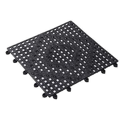 Bar Lux 12 x 12 Inch Bar Spill Mat, 10 Interlocking Bar Service Mat – Diamond Cutouts, Washable, Black Rubber Bartender…
