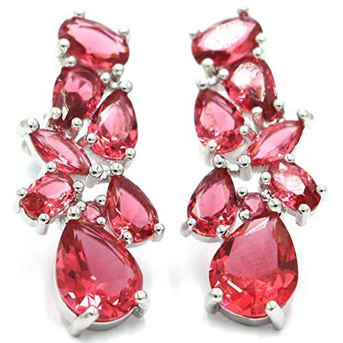 GEDASHU Earrings Pink Raspberry Rhodolite Garnet Woman's Wedding 925 Silver Stud Earrings 28X12Mm