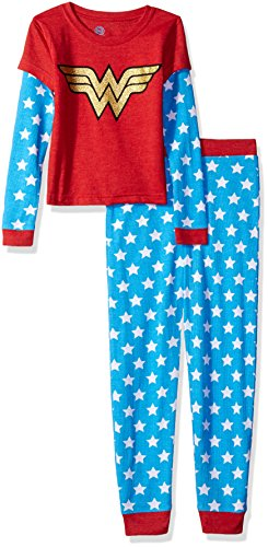 Wonder Woman Big Girls Thermal 2 Piece Pajama Set, Blue, 6/6X