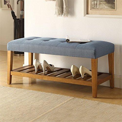 Contemporary Oak Bench - Acme Furniture Acme 96684 Charla Bench, Blue & Oak, One Size