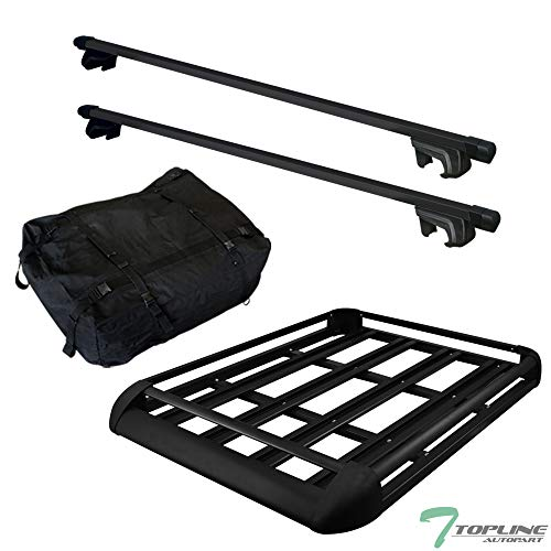 "Topline Autopart 49"" Black Square Type Roof Rail Rack Cross Bar Kit+Cargo Carrier Luggage Basket T1"