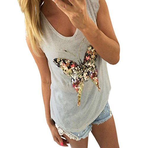 Butterfly Tank Womens Top - KESEE Women Butterfly Sleeveless Shirt Blouse Casual Tank Tops (XL)
