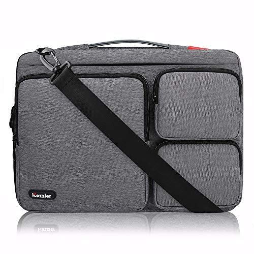 iCozzier 15-15.6 inch Thri-Sidepocket Laptop Sleeve with Handle&Shoulder Strap Electronic Organizer Briefcase for 13.3