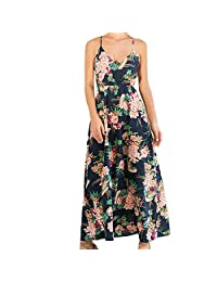 KOERIM Women's Floral Print V Neck Spaghetti Strap Long Boho Maxi Dress