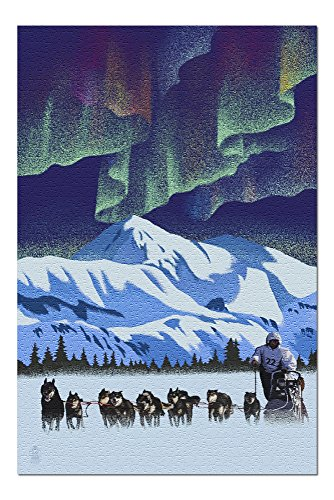 Northern Lights and Dog Sled - Lithograph (20x30 Premium 1000 Piece Jigsaw Puzzle, Made in USA!)
