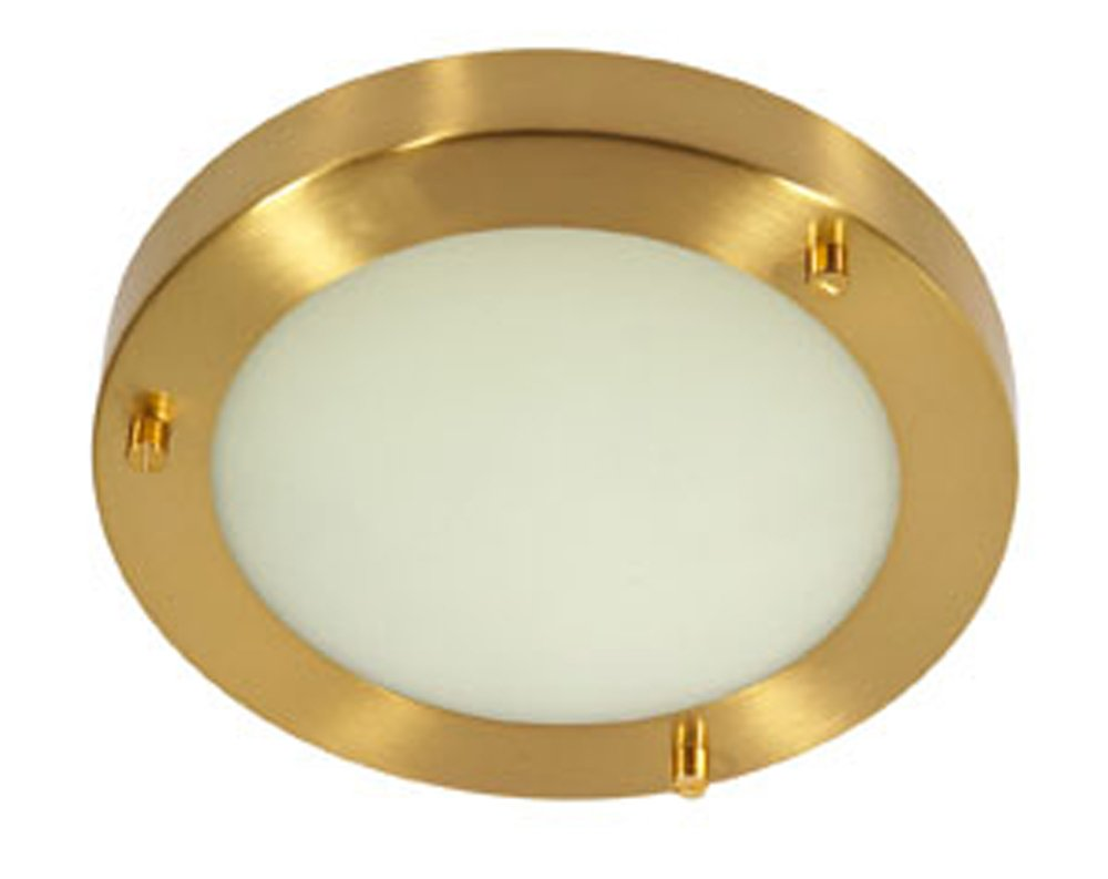 Rondo Bathroom Ceiling Fitting  Satin Brass Finish G9 Bulb Oaks Lighting RONDO SB