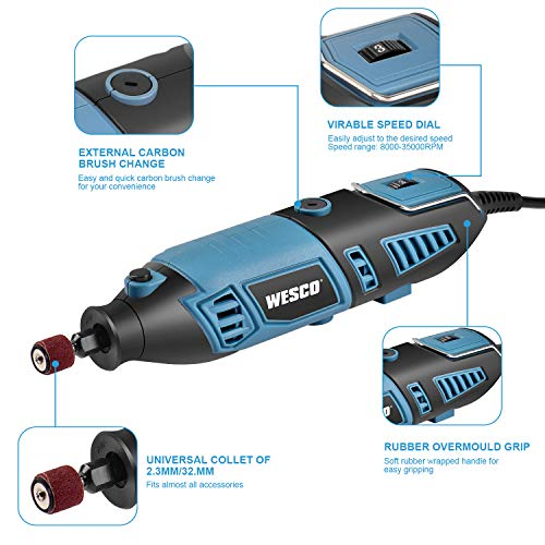 160W Rotary Tool, Multi-Functional Tool Kit, 82PCS Accessories, Variable Speed 8000-35000/min, Auxiliary Handle, Flexible Shaft, Collet 2.3mm/3.2mm for Polishing, Grinding, Cutting, Sanding/WS3113K.1