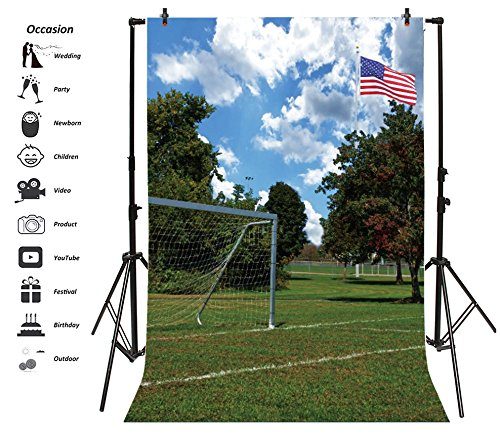 Leyiyi 5x7ft Photography Background Grunge Football Field Backdrop American Flag School Playground Training Team Teenagers Competition Graduation Photo Portrait Vinyl Video Studio Prop