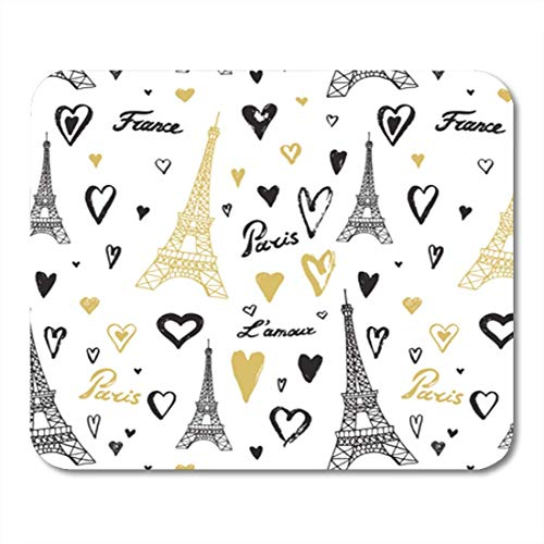 Gaming Mouse Pad Hearts Travel Paris Torre Eiffel Patron de linea Edificio Cafe Cartoon Cathedral Silla Decoracion Oficina Antideslizante Respaldo de Goma Mousepad Alfombrilla de raton