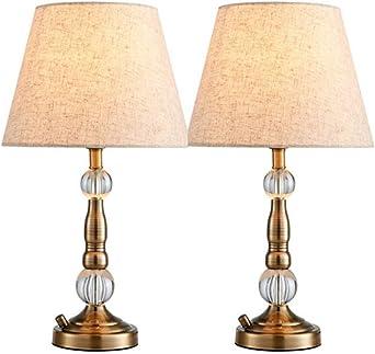 Lampe de table rétro, lampe en cristal de cuivre américain