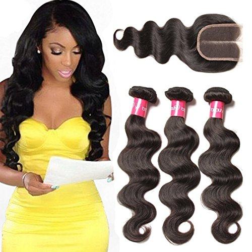 Longqi Beauty Bundles With Closure Brazilian Body Wave Virgin Hair Bundles with Middle Part Lace Closure Grade 7a 100% Unprocessed Virgin Human Hair Bundles With Closure Natural (20 22 24 closure 14)
