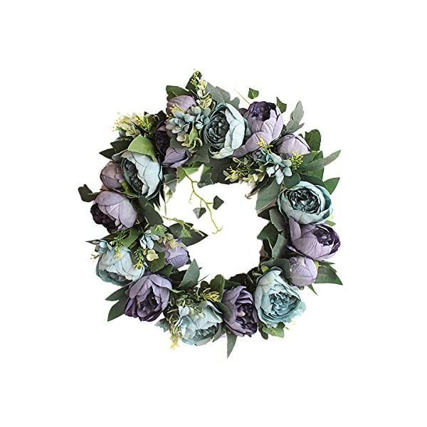 Supreme glory Artificial Rose Flower Handcrafted Flower Wreath-Roses Flowers Door Wreath with Green Leaves, Blue Rose Spring Wreath for Front Door, Wedding, Wall, Home Decor 40cm