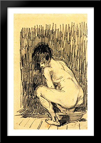 Nude Woman Squatting Over a Basin 26x40 Large Black Wood Framed Print Art by Vincent van Gogh