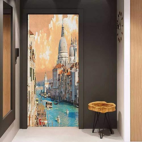 Onefzc Door Wall Sticker European Grand Canal in Venice Italy Historic European Cityscape Town Tower Boho Print Mural Wallpaper W32 x H80 Multicolor (Wood Slam Grand)