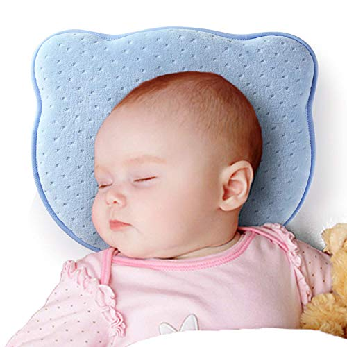 Newborn Baby Head Shaping Pillow,Memory Foam Nursery Pillows for Flat Head Syndrome Prevent Plagiocephaly with Breathable Cotton Pillowcase