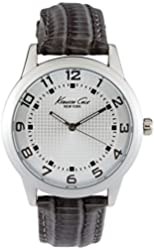 Kenneth Cole New York Men's Silvertone Grid With Grey Leather Strap Watch