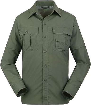 Mingdoo Outdoor Convertible Pantalones de Senderismo Pantalones Cortos Camisa de Pesca Secado Rápido Camisas Casual al Aire Libre Trekking