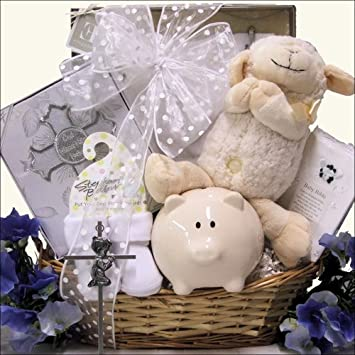 Bless This Baby Boy Christening Baptism Gift Basket Amazon Com