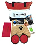 Homescape World 6-Piece Complete Pet Travel Pack and Accessories (Red)