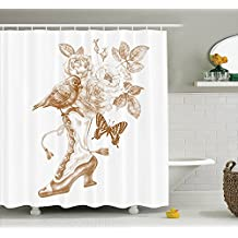 Victorian Decor Shower Curtain Set, Nostalgic Boots with Roses Butterfly and Bird British Trend Upper Class Shoe Art Work, Bathroom Accessories, Extralong, Brown White 72X72 in
