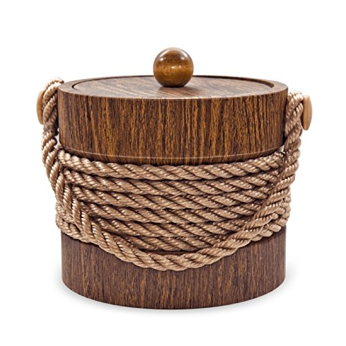 Ice Bucket Ice Bucket, 3 Quart, Walnut Rope