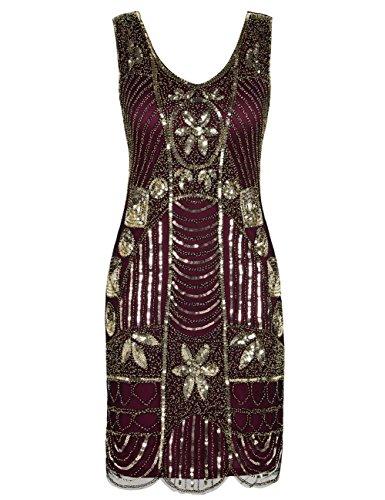 (kayamiya Women's Retro 20s Beaded Art Deco Inspired Gatsby Flapper Dress L Gold Burgundy)