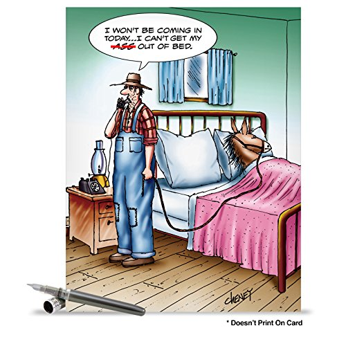 J1365 Jumbo Funny Get Well Card: A$$ Out Of Bed With Envelope (Extra Large Version: 8.5'' x 11'')