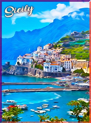 A SLICE IN TIME Sicily Italy Italian Vintage Europe European Travel Home Collectible Wall Decor Advertisement Souvenir Art Poster Print. Measures 10 x 13.5 inches (Italian Vintage)